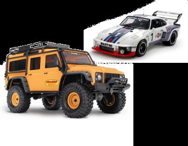 Maquette à construire Porsche de la marque TAMIYA et voiture radiocommandée électrique TRX4 Land Rover de la marque TRAXXAS