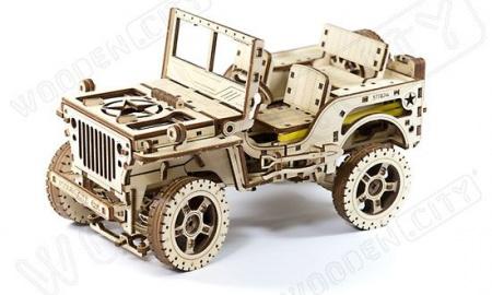 JEEP 4X4 BOIS MAQUETTE A CONSTRUIRE 3D PUZZLE S056WR309 SYRACOM MODELISME ESLETTES ROUEN NORMANDIE