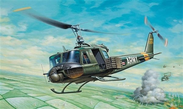 MAQUETTE  ITALERI I040 HELICOPTERE UH-1B HUEY AVION A CONSTRUIRE MILITARIA A COLLER A MONTER SYRACOM MODELISME ESLETTES ROUEN NORMANDIE
