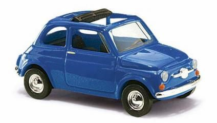 VEHICULE FIAT 500 BLEUE BUSCH BUV48724 HO MINIATURE TRAIN SYRACOM MODELISME ESLETTES ROUEN NORMANDIE