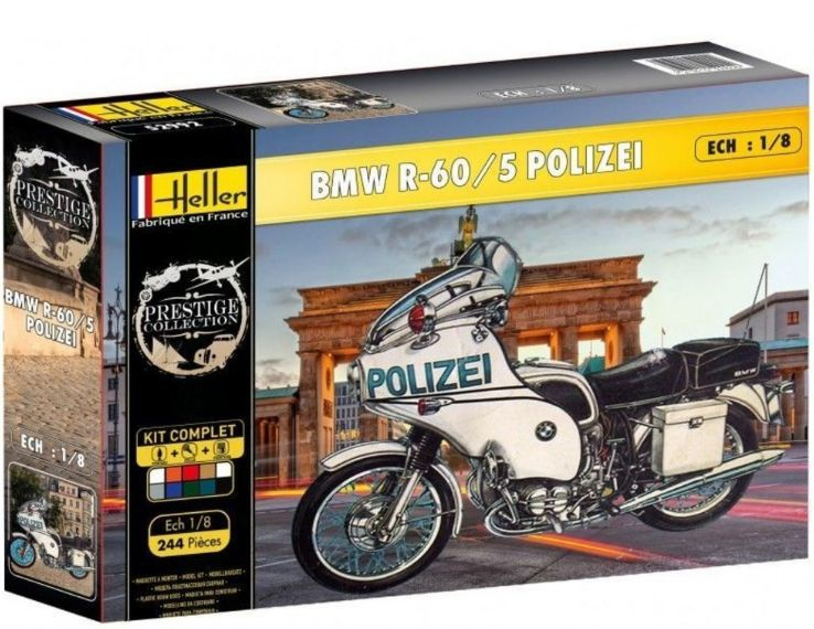 maquette moto police a construire heller bmw r-60 5 polizei echelle 1-8 prestige collection 52993 syracom modelisme eslettes ro