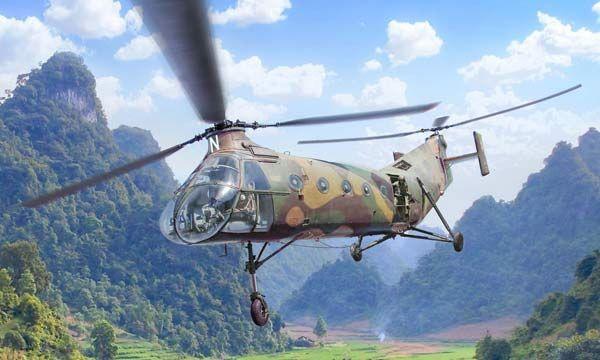 MAQUETTE HELICOPTERE MILITAIRE H-21 GUNSHIP ITALERI I2774 ECHELLE 1-48 SYRACOM MODELISME ESLETTES ROUEN NORMANDIE