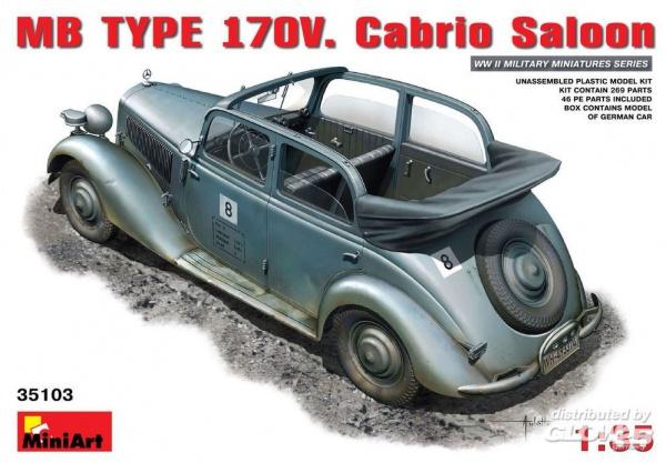 MAQUETTE VOITURE MB TYPE 170V CABRIO SALOON MINIART 6465103 SYRACOM MODELISME ESLETTES ROUEN NORMANDIE