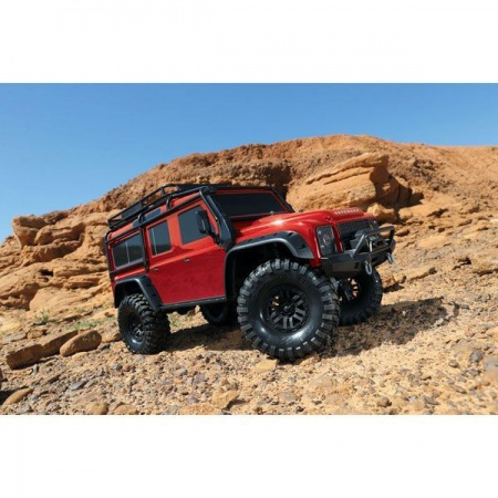 TRX TRAXXAS ROUGE TRX82056-4-RED LAND ROVER DEFENDER VOITURE RADIOCOMMANDEE SYRACOM ESLETTES